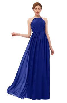 37cf141e11e50 ColsBM Peyton Electric Blue Bridesmaid Dresses Pleated Halter Sleeveless  Half Backless A-line Glamorous
