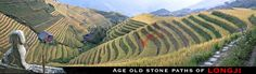 LongJi rice terraces stone paths to PingAn village in GuangXi Province - panorama Stone Paths, Rice Terraces, Guilin, Old Stone, Trekking, Hiking, China, Spaces, Pictures