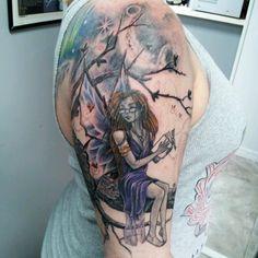 Cool Fairy Half Sleeve Tattoo for Women Tattoos For Women Half Sleeve, Full Sleeve Tattoos, Tattoos For Guys, Cool Tattoos, Tattoo Sleeves, Awesome Tattoos, Tatoos, Fairy Sleeve Tattoo, Gothic Fairy Tattoo