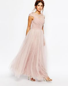 Little Mistress Petite   Little Mistress Petite Tulle Maxi Prom Dress With Embellished Sheer Detail at ASOS