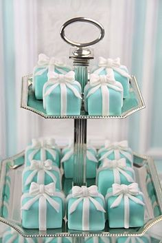love the tiffany box petit fours! I had a Tiffany box bridal shower cake. I wanted it for my wedding cake but was vetoed by my mother and husband to be. I showed him, I get a real Tiffany box on occasion with some bling in it. Tiffany E Co, Tiffany Cakes, Tiffany Party, Tiffany Theme, Tiffany Jewelry, Blue Wedding, Dream Wedding, Wedding Day, Trendy Wedding