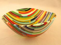 Bowl made from S96 glass scraps, shaped in a drop ring.