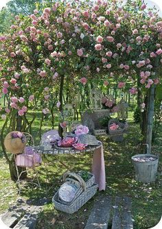 old baskets...all shapes and sizes...under a beautiful rose arbor...
