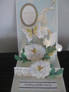 Pop up card in white flowers--Anna Griffin card kit