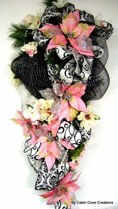 Christmas Swag Wreath pink Poinsettia black and white damask by cabincovecreations, $165.00