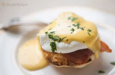 Eggs Benedict ~ Eggs Benedict, poached eggs over bacon and buttered toasted English muffin, topped with Hollandaise sauce. ~ SimplyRecipes.com