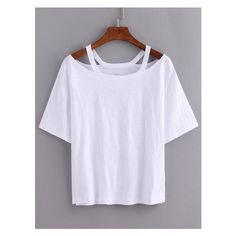 Cutout Loose-Fit White T-shirt (£5.27) ❤ liked on Polyvore featuring tops, t-shirts, loose tee, white cut out top, loose t shirt, loose white tee and loose fitting tops