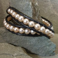 Creamy white pearl double wrap bracelet with black leather