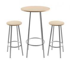 """Zella Bar Table Set Natural Stools measure 13"""" D top by 29.5"""" H,  (33.02 D x74.93 H cm) Table measures 23.5"""" D top by 42"""" H. (59.69 x 106.68 cm)"""
