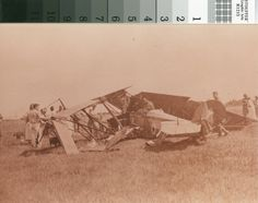 A crash landing at Leslie C. Brand's Fly-in party on April 1, 1921. Transportation to this party was limited to those who could arrive in an airplane.