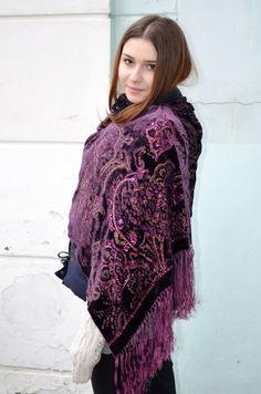Vintage lilac Velvet scarf Lace Shawl gothic Shawl by bestLuba