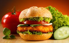 Chicken burgers topped with lettuce and mayonnaise are awesome for lunch or dinner. You can buy frozen chicken patties from most grocery stores Chicken Patties, Hamburger Patties, Sweet Chilli Sauce, Breaded Chicken, Crispy Chicken, Healthy Chicken, Frozen Chicken, Living At Home, Air Fryer Recipes