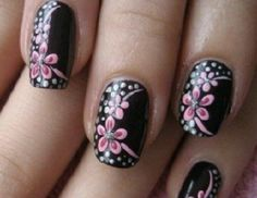 Black nails with pink flowers and dots