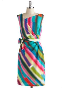 Whirlwind of Wonderful Dress - Mid-length, Multi, Print, Belted, Party, Sheath / Shift, Wrap, Sleeveless, Cocktail, Luxe, Wedding