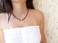 Amethyst  Gem Stone Necklace Flowers Gold Plated by sevinchjewelry, $32.00 #jewelry #fashion #summernecklace