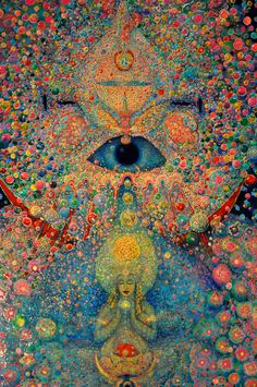 This beautiful piece of spiritual art is an oil painting by Leigh J. McCloskey, who has studied studied Hermeticism, Alchemy and the Kabbalah. Psychedelic Art, Psy Art, Hippie Art, Visionary Art, Art And Illustration, Oeuvre D'art, Art Inspo, Illusions, Fantasy Art