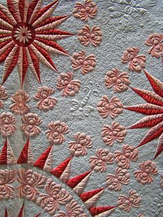 DSC02684 Traditional Quilt Red Pink and White Stars detail by godutchbaby, via Flickr