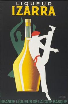 By Paul Colin, 1952, Liqueur Izarra, Grande liqueur de la côte basque.