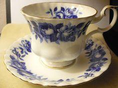 "Vintage Royal Albert ""Aristocrat""  Fine Bone China Tea Cup & Saucer Splashed with Blue Cobalt Flowers"