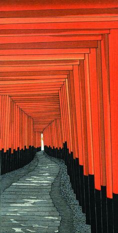 Torii gates along the walkway to Fushimi Inari shrine, Kyoto, woodblock print by 加藤晃秀 / Teruhide Kato --- Represents Repetition & Rhythm Japanese Artwork, Japanese Painting, Japanese Prints, Chinese Painting, Chinese Art, L Wallpaper, Japon Illustration, Botanical Illustration, Art Asiatique