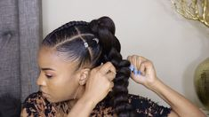 Black-ish Marsai Martin Inspired Ponytail Tutorial – hairstyles for curly hair natural Protective Hairstyles For Natural Hair, Natural Hair Braids, Easy Hairstyles For Medium Hair, Black Women Hairstyles, Braided Hairstyles, Blown Out Natural Hairstyles, Black Women Natural Hairstyles, Afro Hairstyles For Kids, Black Little Girl Hairstyles