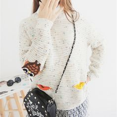 c42714d7ba973 2016 Womens Fashion Winter Autumn O-neck Collar New Owl Character with  pocket hit color solid loose cashmere sweater pullovers