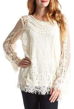 Crochet Linen-Blend Tunic