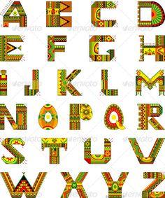 Alphabet Ethnic Ornamental