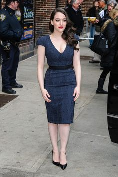 Kat Dennings Shows Off Her Curvy Figure In A Cute Blue Dress.   Give This A Repin If You Think Women Shouldn't Be Afraid To Show Their Curves!