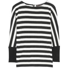 Alice + Olivia Striped stretch-jersey top ($195) ❤ liked on Polyvore featuring tops, black, loose fit tops, striped top, loose fitting tops, stripe top and cut loose tops