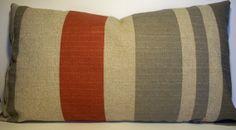 """Decorative Pillow Rust Burnt Orange Stone Throw Pillow Accent Pillow 14x24"""" lumbar"""