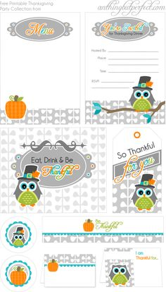 Thanksgiving owl printables