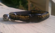 Kitty Bling - Black and Gold Glitter Stripes - Breakaway Adjustable Cat Collar on Etsy, $9.25