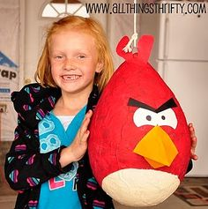 Angry Birds piñata. Honestly, I could live without a piñata, but my kids can't. They think that birthdays mean cake and piñata. If we can swing it, my papier-mâché-wielding husband will make something like this gorgeous red bird from AllThingsThrifty.    Sweet but angry pinata from All Things Thrifty    I am absolutely open to all other (easy) suggesti