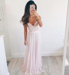 Elegant A-line V-neck Long Chiffon Baby Pink Long Prom Dress Evening Dress - Thumbnail 1