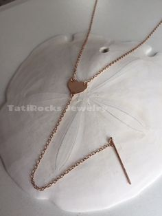 Love You Heart Necklace Gold Heart Necklace Lariat by TatiRocks
