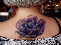 Purple Rose tattoo. Wow, this is a lovely rendition. Very good eye for the shading and color variation.