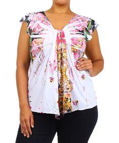 Look at this #zulilyfind! White & Pink Floral Flutter-Sleeve Top - Plus #zulilyfinds