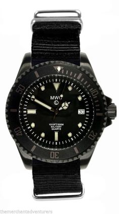 MWC 300m Water Resistant PVD Steel Military Quartz Submariner Divers Watch