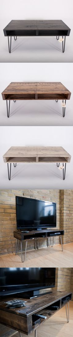 Handmade Reclaimed Pallet Wood TV Stand / #Coffee Table with #Modern Hairpin Legs. A beautiful #gift for the #home.