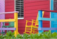 An explosion of color, fringed by beaches and soaked in rum – the Caribbean is a joyous riot of islands beckoning paradise-hunters. Rocked by. Window Locks, Caribbean Homes, Free Online Jigsaw Puzzles, Outdoor Chairs, Outdoor Decor, Color Pallets, Exterior Paint, House Colors, Paint Colors