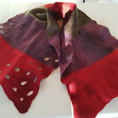 Red/Purple/Green Handmade in Ireland Merino Wool Scarf/Wrap. Hand Felted & Designed in Ireland. Rich in Colour and velvet feel texture. Fibre Art, Wool Scarf, Red Purple, Scarf Wrap, Merino Wool, Felt, Colour, Handmade, Fashion