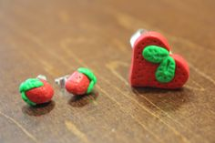 Anillo y pendientes fresa - strawberry's ring and earrings