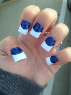 Blue and white nails tips glitter in love with them!!!!!!