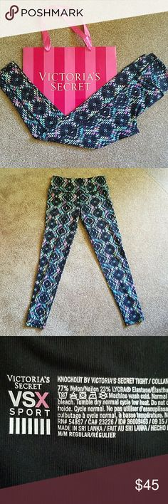 VSX KNOCKOUT ACTIVEWEAR LEGGINGS TIGHTS Excellent used condition. No flaws.  Waistband measures approximately 28 inches. Imseam measures approximately 28 inches. Victoria's Secret Pants