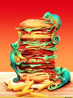 "Weird ""Geckos Climbing Burger"" illustration I found on the internet somewhere - Ah, the colors!"