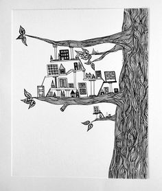 Miniature City Built in a Tree -  PRINT of my Original Ink Pen Drawing in Black and White 8x10. $25.00, via Etsy.