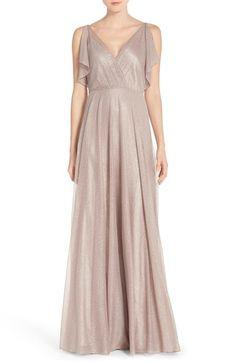 Jenny Yoo 'Cassie' V-Neck Flutter Sleeve Shimmer Gown available at #Nordstrom