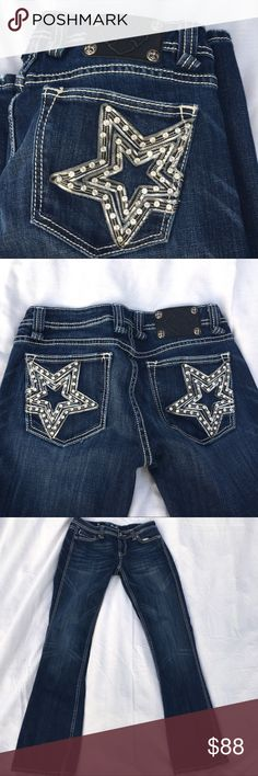 Miss Me Star Rhinestone pockets Size 30 Rare EUC Miss Me jeans with stars on back pockets. In mint condition! All rhinestones and rivets intact. Patch in excellent condition. Bottom of hem has distressed look. No rips or stains. Look new! This is a rare and stunning pair of Miss Me jeans. Size 30. Laying flat down waist measures 15. Front rise is 9. Inseam 33 1/2. Please ask any questions or make an offer 💞 Miss Me Jeans Boot Cut