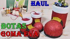 Bota de Papa noel en goma eva. Haul Material escolar Christmas Bulbs, Diy, Holiday Decor, Youtube, Christmas Crafts, Yellow Chalk Paint, Holiday Ornaments, Painted Rocks, Christmas Light Bulbs